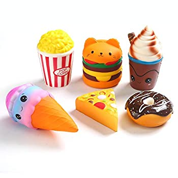 6pcs Slow Rising squishies Squishy Toys Jumbo squishies Hamburger Popcorn Cake Ice Cream Pizza Kawaii Squishy Toys or Stress Relief Squeeze Toys Party Favors for Kids Adults Decorative Props