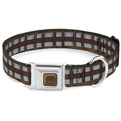 """Buckle-Down Dog Collar Seatbelt Buckle Star Wars Chewbacca Bandolier Bounding Browns Gray 9 to 15 Inches 1.0 Inch Wide, Multi Color, 1"""" Wide – Fits 9-15"""" Neck – Small (DC-SB-SWBBQ-WSW109-1.0-S)"""