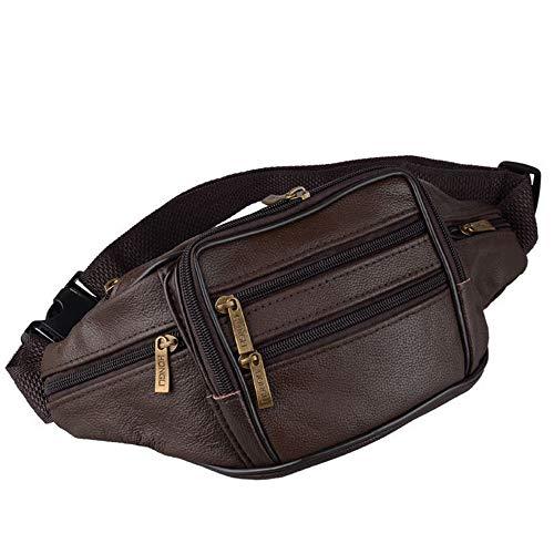 whbage Bauchtasche für Herren, Leder, Hüftgürtel, Militär-Tasche, 5 Reißverschlusstaschen, Geldbörse