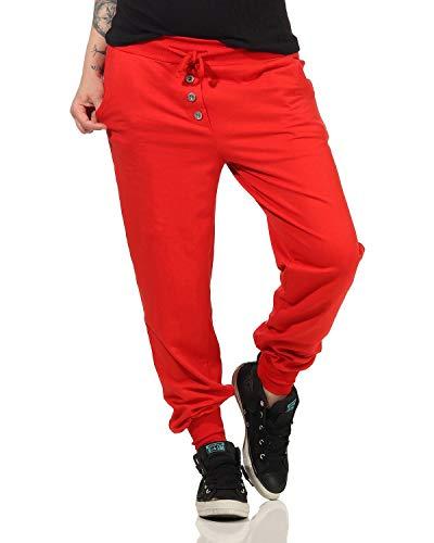 ZARMEXX Pantalones de chándal para mujer, de algodón, estilo clásico rojo Talla única