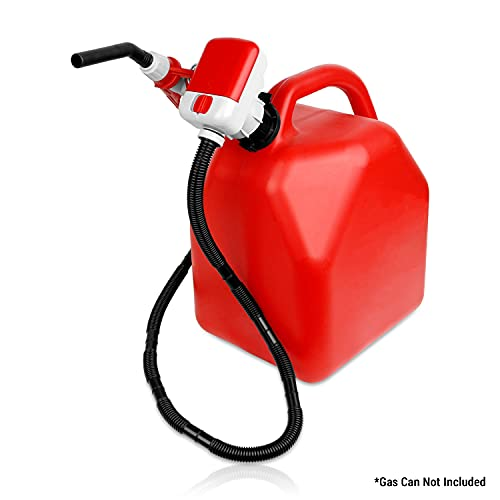 TERA PUMP Battery Gas Pump 10 Liters/min, 4 x AA Battery Powered (Not Included), No More Lifting Heavy Gas Cans - Extended 50 in Hose + Flow Nozzle