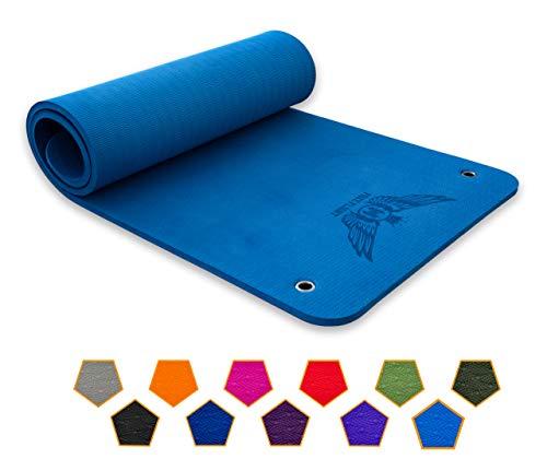FREE FLIGHT Yogamatte Fitnessmatte Gymnastikmatte Pilatesmatte Sportmatte rutschfest Luxusmatte Profimatte mit Ösen zum Aufhängen extra dick 1,5 cm (Indigo, 183 x 61 x 1,5 cm)
