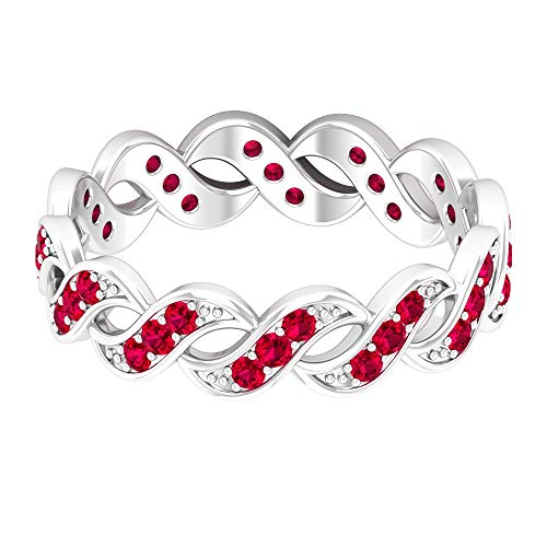 Twisted Wedding Ring, 1/2 CT Ruby Eternity Ring, Dainty Bridal Ring, Braided Anniversary Ring, Delicate Promise Ring for Her, July Birthstone Ring, 10K White Gold, Size:UK W