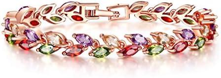 YAZILIND Pulsera de Hebilla Oro Rosa Plateado Hojas de Color Forma cúbica Zirconia joyería Regalo para Las Mujeres(19cm)