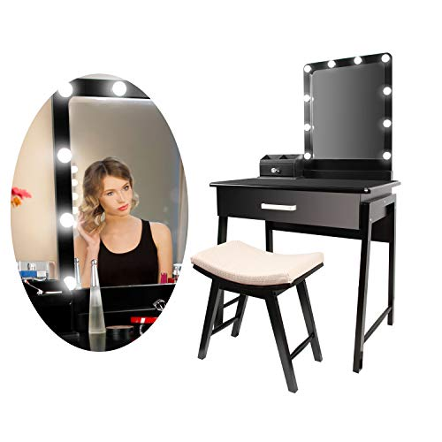 CCLIFE Tocador con Espejo Bombillas para Maquillaje Taburete Acolchado y Cajones Grandes, Color:DSMKT018A0000swz