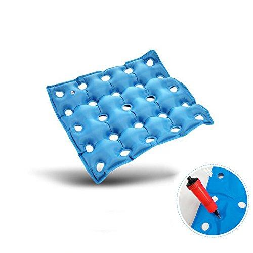 SQINAA Luft-sitzkissen,Aufblasbare Sitz Luftkissen für Rollstuhl Bürostuhl Car seat Kissen Steißbein und ischias-Schmerz-entlastung -Blau 48x48cm(19x19inch)