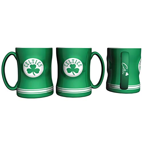 Boelter Brands NBA Boston Celtics Coffee Mug14oz Sculpted Relief, Team Color, 14 Ounce