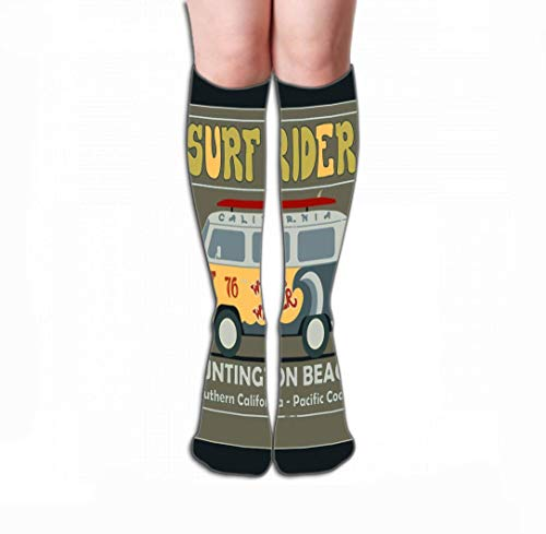uytrgh Männer Frauen Outdoor-Sport Hohe Socken Strumpf Surfen Grafikdesign Vintage Retro Surf Bus Lifestyle Huntington Beach Typogra