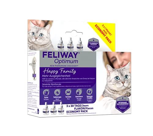 FELIWAY® Optimum Vorteilspack | 3 Monate Ausgeglichenheit & Entspannung für Katzen| 3x 48ml Nachfüllflakons