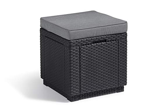 Allibert Hocker Cube, graphite/cool grey (poly cotton cushion)