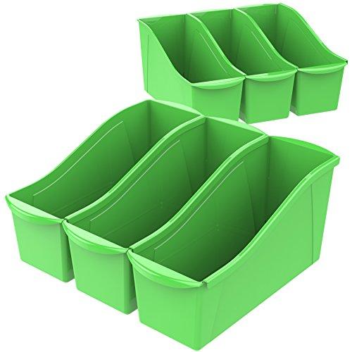 Storex Large Book Bin, 14.3 x 5.3 x 7 Inches, Green, Case of 6 (71118U06C)