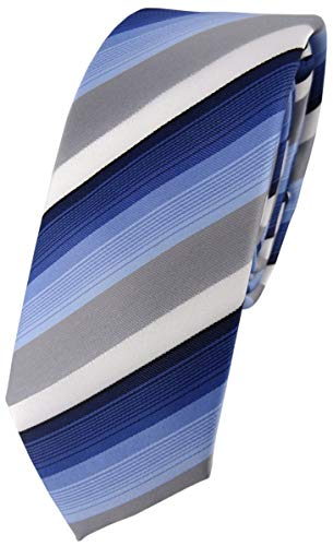 schmale TigerTie Designer Krawatte in blau dunkelblau grau weiss gestreift - Schlips Tie