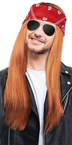 Balinco Herren 90er Jahre Rocker Kit mit Perücke Rot/Blond + Stirnband + Sonnenbrille