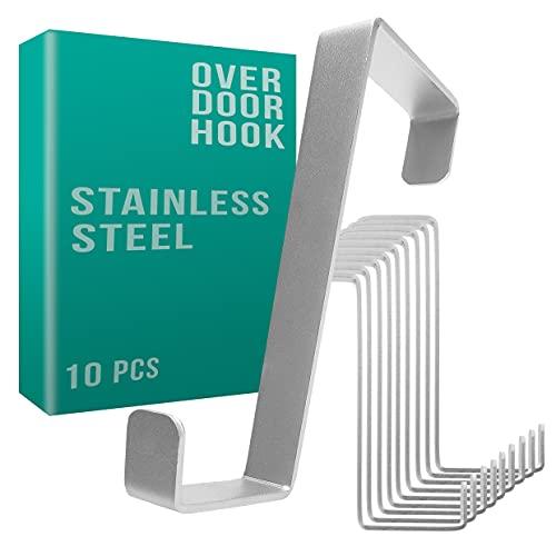 Colgador para puerta 4smile - juego de 10, acero inoxidable - Made in Germany - perchero puerta - organización fácil y...