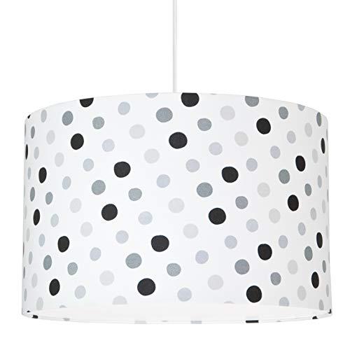 youngDECO Lampe für Baby- und Kinderzimmer, glückliche graue Punkte, großer Lampenschirm 38x24cm, tolle Kinderzimmer-Deko für Mädchen, komplette Deckenlampe für Kinderzimmer, hergestellt in der EU