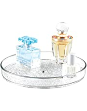 """iDesign Rain Lazy Susan Turntable Cosmetic Organizer for Vanity Cabinet, Bathroom, Kitchen Countertop to Hold Makeup, Beauty Products, 9"""" x 9"""" x 1.5"""", Clear"""