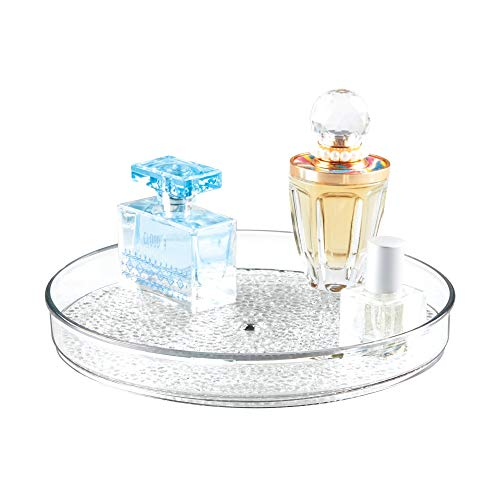 iDesign Rain Lazy Susan Turntable Cosmetic Organizer for Vanity Cabinet, Bathroom, Kitchen Countertop to Hold Makeup, Beauty Products, 9' x 9' x 1.5', Clear
