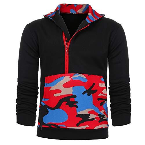 ZIYOU ZIYOU Herren Hoodie Pullover, Männer Langarm Camouflage Sweatshirt Mit Kapuze Club Kapuzenpullover T-Shirts Outwear (Rot,EU-50 / CN-2XL)
