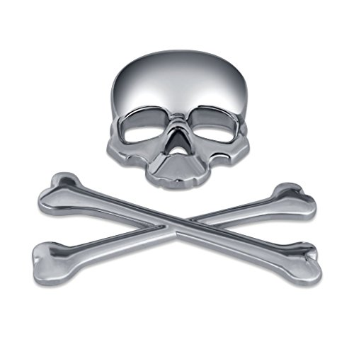 Metall 3D Car Logo Metall Aufkleber Emblem Badge Aufkleber Skelett Schädelknochen (Silver)