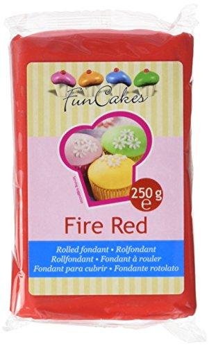 FunCakes Fondant Fire Red: Einfach zu Verwenden, Glatt, Elastisch, Weich und Schmeidig, Perfekt zum Dekorieren von Torten, Halal, Koscher und Glutenfrei. 250 g