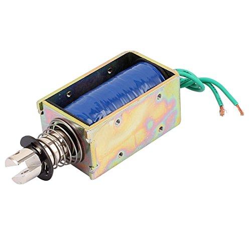 sourcingmap A15122500ux0340 Xrn-1564t 12 V 10 mm 55 N Push Pull actionneur Électroaimant solénoïde – Bleu/Bronze/argenté/Vert