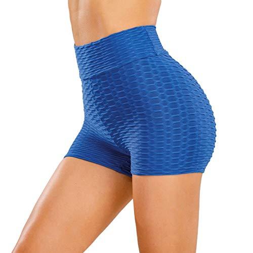 LZJDS Mallas Pantalones Deportivos Leggings Mujer Yoga de Alta Cintura Texturizado Shorts Elásticos y Transpirables para Yoga Running Fitness,9 Colores sólidos,S-XL (2 Piezas),Dark Blue,Large