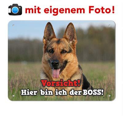 mein-tierschild.de Blech Hundewarnschild/Hundeschild mit EIGENEM Foto (UV-beständig & wetterfest) (Spruch 1, 15x20cm (DIN A5))