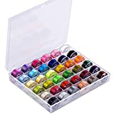 Techson 36PCS Sewing Thread with Bobbin and Bobbin Sleeve, Standard Size and Assorted Colors, Thread Machine DIY, for Multiple Sewing Machines