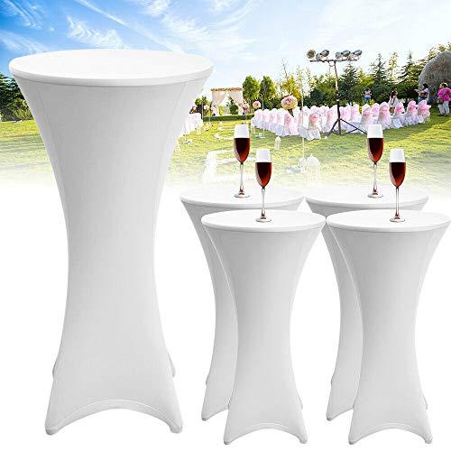 DiLiBee 5X Husse Hochtisch gedehnt Hochtischdecke Tischdecke Bistrotisch 80cm weiß