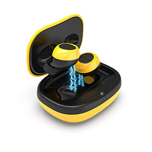 Auricolari Wireless In-Ear, Auricolari SIXGO Wireless Bluetooth 5.0 Con Riduzione Del Rumore, Auricolari Da Gioco Wireless Con Microfono Per Ios E Android (Giallo)