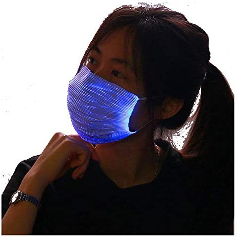 AMIMA LED Light up Rave Face Mask 7 Color Lights Change USB Rechargeable Glowing Luminous Dust product image