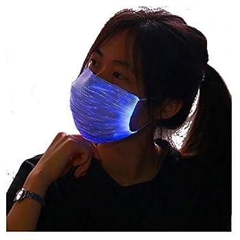 AMIMA LED Light up rave Face Mask 7 Color Lights Change USB Rechargeable  BLACK