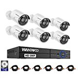 WANDWOO 8CH Security Surveillance System H.264+ 5MP Lite Wired DVR and 8PCS HD Weatherproof CCTV Camera System, 60ft Night Vision, Easy Remote Access 1TB Hard Drive