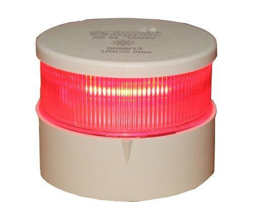 Aqua Signal 34005-7 All-Round LED Navigation Light - Port (Red) with White Housing