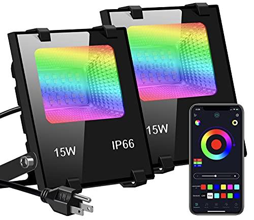 WEARXI RGB LED Strahler Fluter Außen Bluetooth Objektbeleuchtung 2er Pack 15W LED Fluter Flutlichtstrahler, IP66 Wasserdicht LED Flutlicht, Garten Stimmungslichter