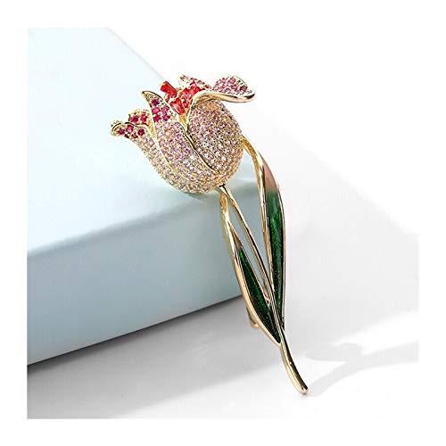 QTBH Broschen Elegante Tulpen-Pin Broschen für Frauen Mode Zirkon Corsage Schal Pins Schmuckzubehör Kleidung Bouquet Broschen (Champagner/rot Tulpe) Brosche für Frauen (Color : B)