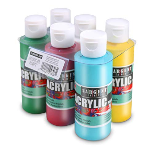 22-4806 Sargent Art Primary Acrylic Paint Set, 4 Ounce, 6-Pack