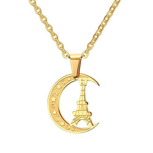 Onefeart Vergoldet Anhänger Halskette Zum Damen Halbmond Krawatten Gestalten mit Kette Zum Valentine 25x22MM Gold