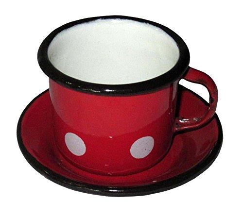 Best Sporting Mocca-Tasse mit Untertasse (2 teilig), 50 ml, rot mit weißen Punkten