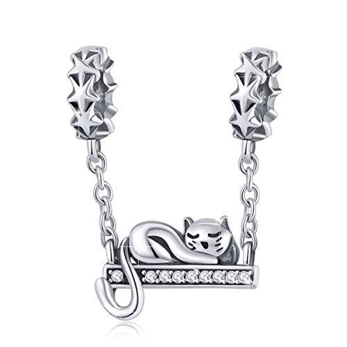 BAMOER Ciondolo a Forma di Gatto Charm Bead Animali in Argento 925 Charms Gatto Compatibili Pandora Braccialetti Collana