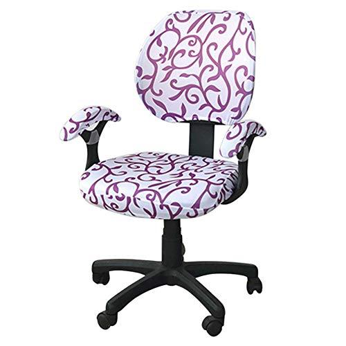 Hot Koop Bureaustoel Covers Spandex Computer Stoel Armsteun Cover Bloem Gedrukt Verwijderbare Roterende Stretch Stoelhoezen, 4, met armste hoes