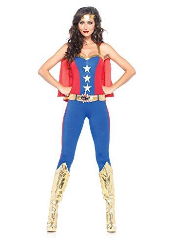 Leg Avenue Women's 3 Piece Comic Book Super Hero Costume, covid 19 (Leg Avenue 3 Piece coronavirus)
