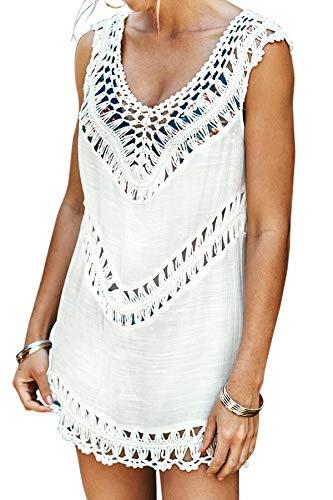 CUPSHE Women's White Crochet Sleeveless Tunic V Neck Cover Up