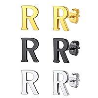 FindChic イニシャルピアスR レディース ピアスセット 両耳 シルバー ゴールド ブラック シンプル ステンレス アレルギー対応 可愛い アクセサリー