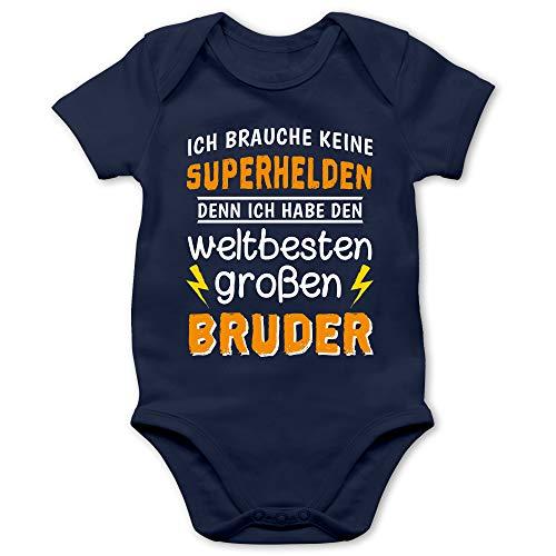 Shirtracer Geschwisterliebe Baby - Ich Habe den weltbesten großen Bruder - 1/3 Monate - Navy Blau - zur Geburt Junge - BZ10 - Baby Body Kurzarm für Jungen und Mädchen