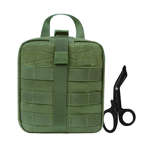 Tactical Molle IFAK Bolsa+Acero Inoxidable Vendaje Tijeras Heavy Duty Set:Arrancó EMT Primeros Auxilios Kit de Emergencia Survival Gear Bag Medical Trauma Shears (Ejército Verde)