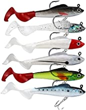 Facikono Lures for Bass Jig Head Soft Swimbait, 6-Pack 6 Colors Plastic Bait for Saltwater/Freshwater Fishing