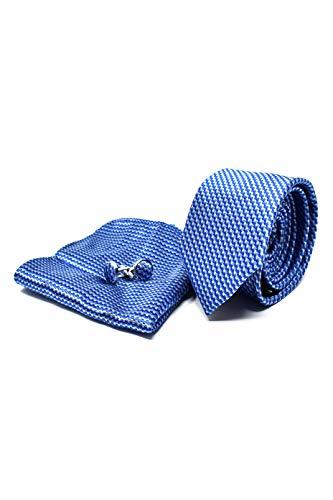 Oxford Collection Cravatta da uomo, Fazzoletto da Taschino e Gemelli Blu a Righe - 100% seta - Classico, Elegante e Moderno - (Confezione Regalo, ideale per un matrimonio, con un abito, in ufficio.)