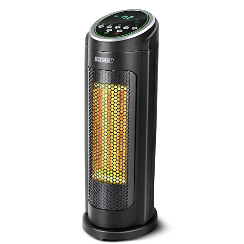 LIFE SMART Ceramic PTC Electric Oscillating Tower Space Heater, Portable Heater with Adjustable Thermostat, Remote, Timer, 3 Models with Overheat an Tip-Over Protection Heater Oscillating Space