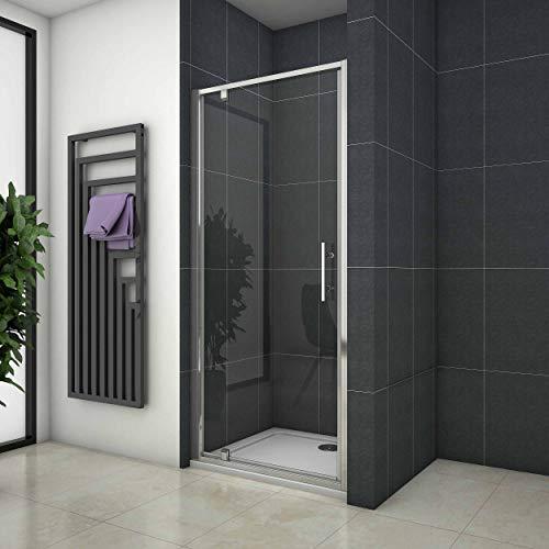 Mampara de ducha abatible con vidrio transparente